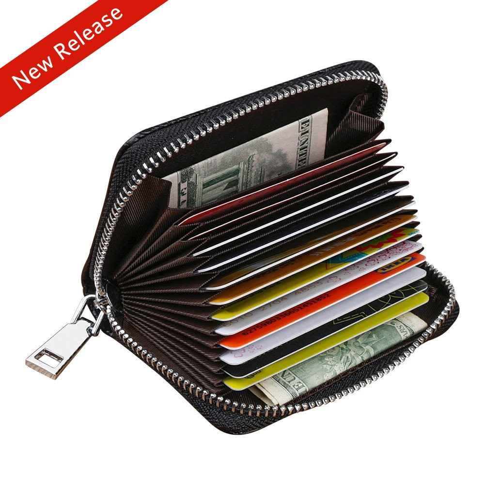 Mens Leather Wallet with 12 Cards Slots and 2 Money Slots, Large Capacity Credit Card Holder with RFID Blocking Feature