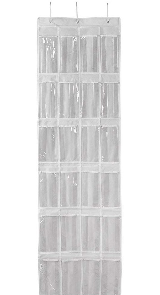 Over the Door Shoe Organizer with 24 Pockets, Multi-functional Door Hanging Organizer for Shoe, Hats, Bows, Shoes, Socks, Accessories