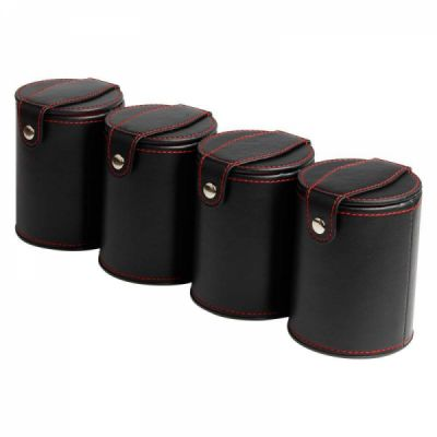 Quality PU Leather Dice Cup Set with 6 Dot Dices Glowing In The Dark, Classic Dice-rolling Game - 4 Pack