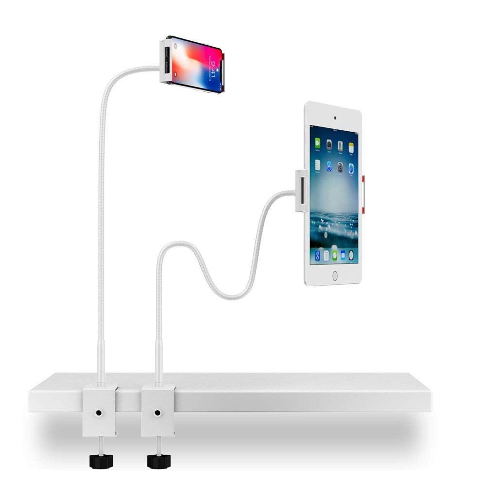 360° Adjustable Tablet Stand for Bed or Office or Kitchen, Universal Gooseneck Lazy Stand for tablets and smartphones - 3.5-10.6 inches