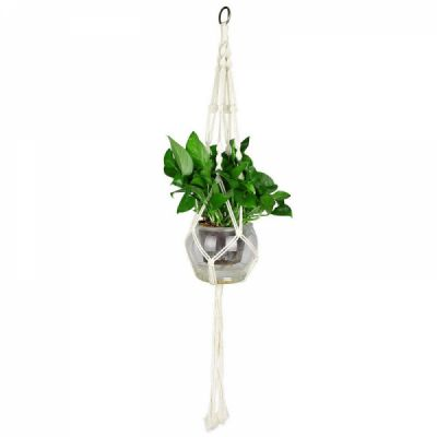 Macrame Plant Hanger for Indoor Outdoor Decoration, Handmade Cotton Rope Flower Pot Plant Hanger with Metal Hoop