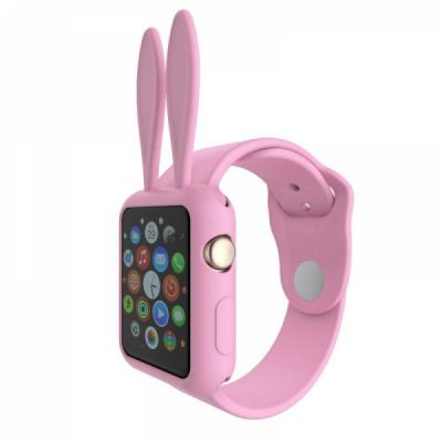 Soft Silicone Apple Watch Protective Cover Case with Cartoon Rabbit Ears for Women [Series 1/2/3, 42 mm]