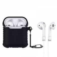 Airpods Charging Case with Anti-Lost Strap and Keychain, Waterproof Protective Silicone Shockproof Case for Apple Airpods