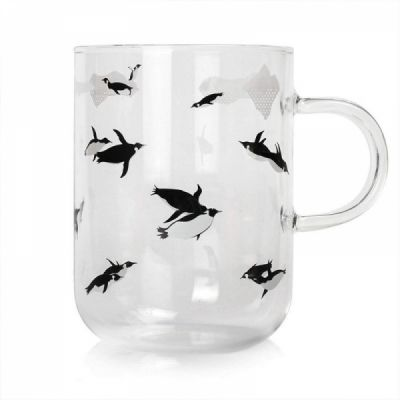 Cute Glass Coffee Mug with Penguins Print, Unique Personalized Clear Tea Cup, 16 oz