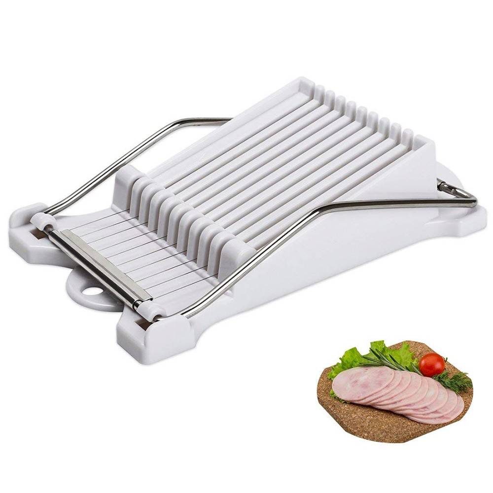 Luncheon Meat Slicer with 10 Stainless Steel Cutting Wire, Multipurpose Wire food Slicer for Slice Meats, Fruit and Soft Cheeses