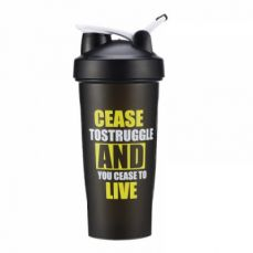 BPA-Free Protein Shaker Bottle, Leak proof Gym Bottle for Quick Easy Nutrition Supplement 22 oz, Black