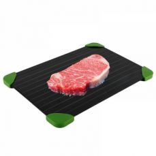 Defrosting Tray with Silicone Corner for Defrost Meat, Chicken, Steak & Frozen Food, Aluminum Thawing Trays for Defrost Frozen Food Quickly Without Electricity