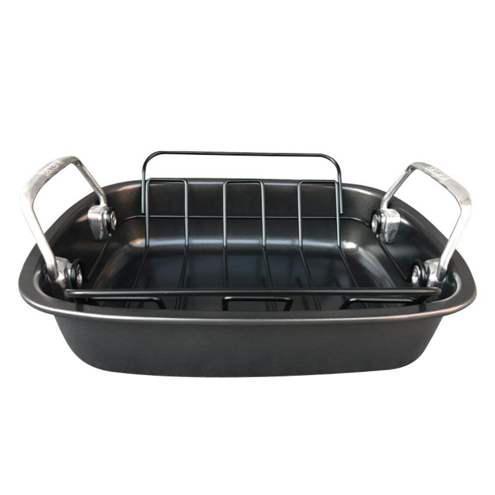 Carbon Steel Turkey Roasting Pan with Removable Non-Stick Rack