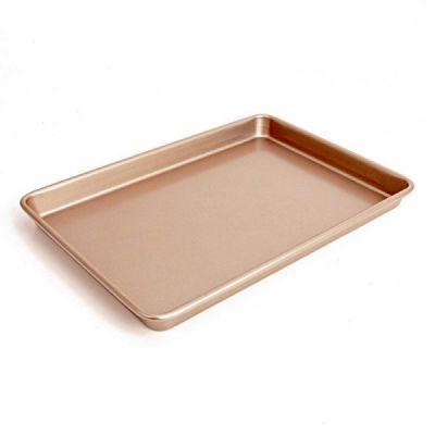 Large Baking Pan 13 inch,Non Stick Carbon Steel Bakeware Cookie Sheet Roasting Tray, Gold