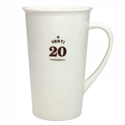 Tall Ceramic Coffee Mug, Large Travel Milk Cup Porcelain Mugs, White, 20 ounces