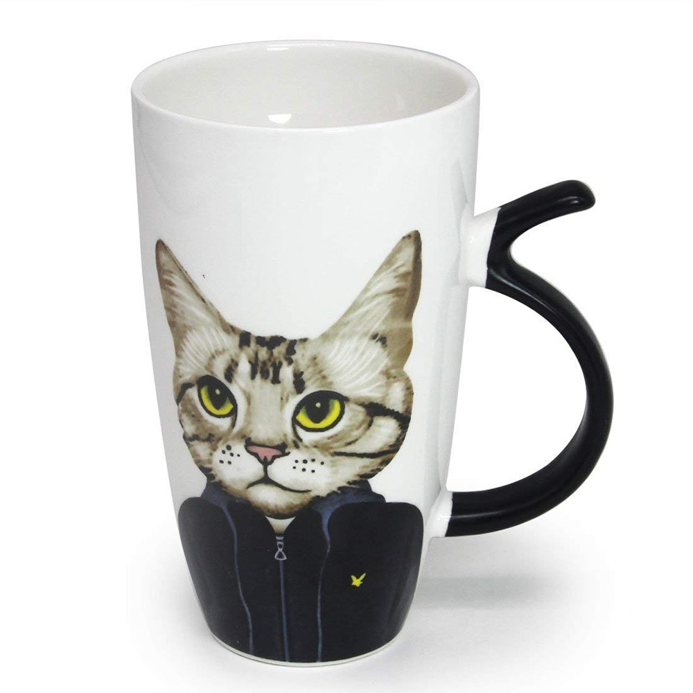 Novelty Coffee Ceramic Mug with Cartoon Cat Printing,Funny Porcelain Latte Tea Cup, 20 ounce
