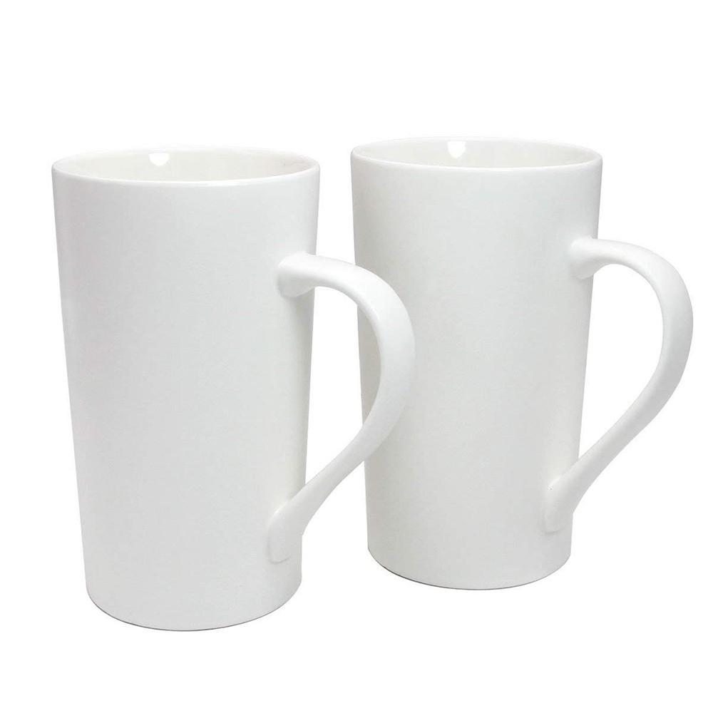 Large 20 oz Ceramic Coffee Mug,Set of 2 Durable Hot Cocoa & Tea Mug,White