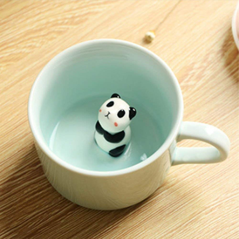 Panda Inside Funny 3D Coffee Mug, 8 OZ Small Ceramic Tea Cup/Milk Mug
