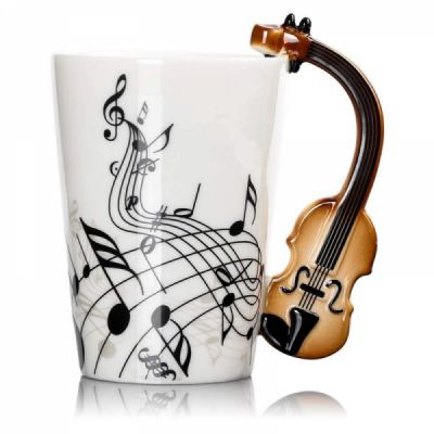 Novelty Coffee Mug with Unique Guitar Handle,Amazing Porcelain Tea Cup with Musical Instrument Notes - 10.2 Oz