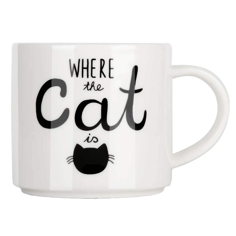 Funny Coffee Mug with Cat Print, Lovely Cartoon Ceramic Tea Mug 10 oz