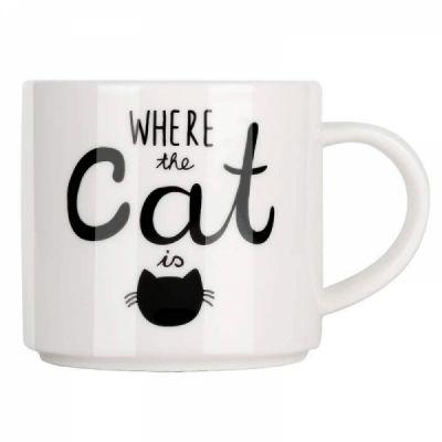 Funny Coffee Mug with Cat Print, Lovely Cartoon Ceramic Tea Mug, 10 oz