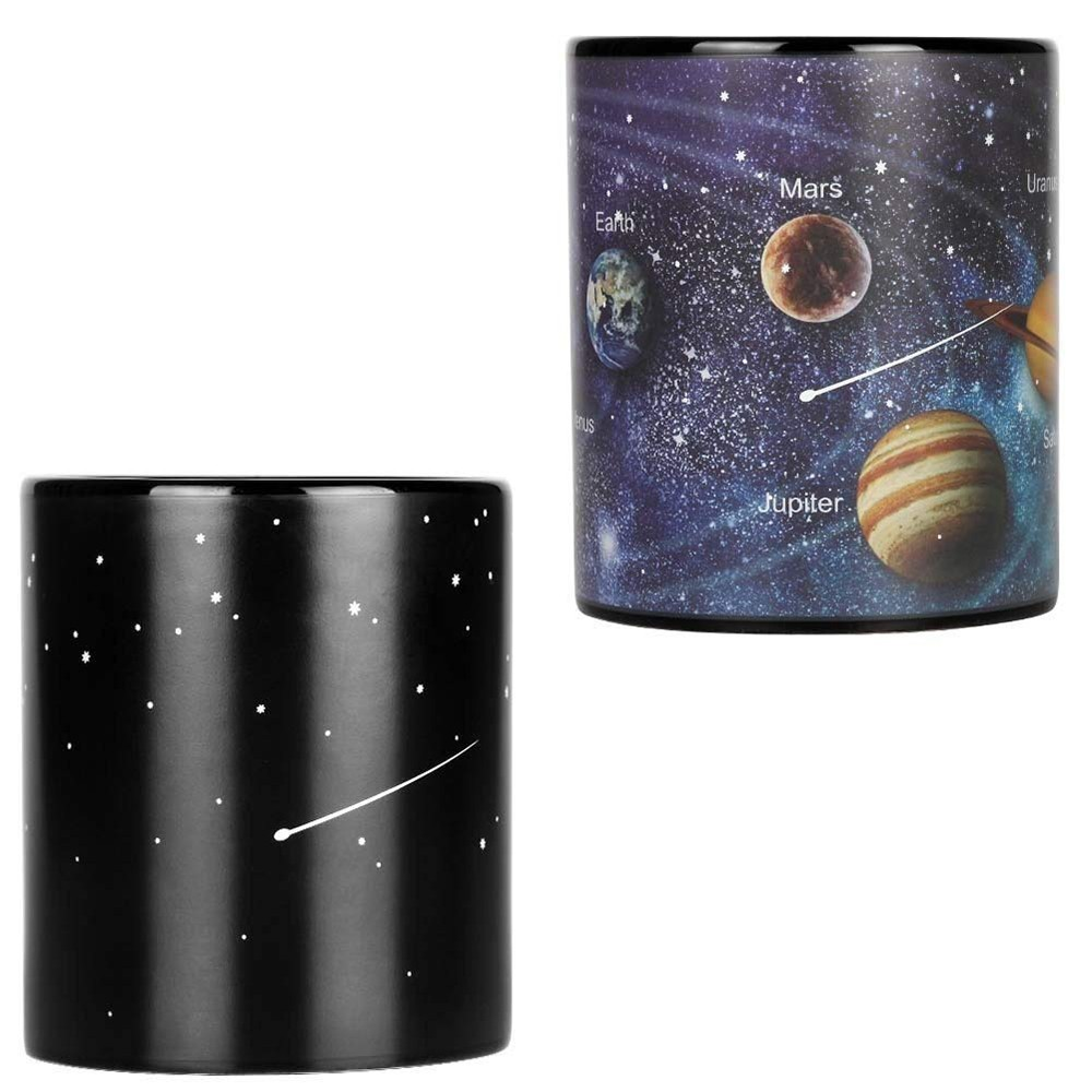 Heat Sensitive Color Changing Coffee Mug with Solar System Appear in the Night Sky,Novelty Porcelain Cup Tea Cup for Friends As Best Gift