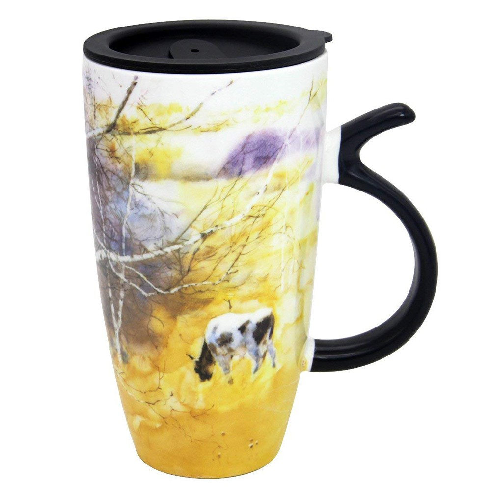 Travel Coffee Ceramic Mug with Sealed Lid, Large Porcelain Latte Tea Cup with Fancy Printing, 20 Oz