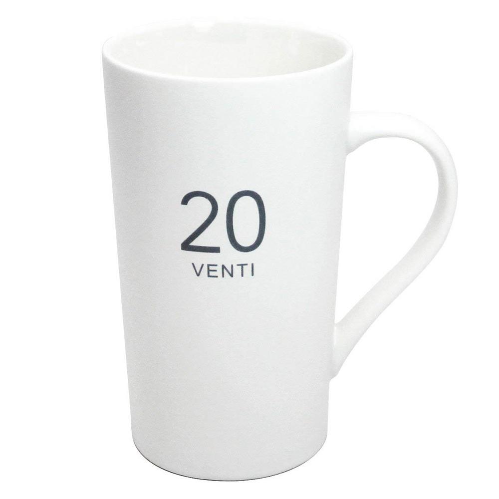 Ceramic Milk Mug 20-Ounce, Number Pattern Tall Ceramic Mug for Coffee, Soups, Hot Chocolate