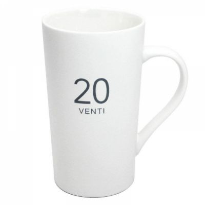 Ceramic Milk Mug 20-Ounce, Number Pattern Tall Ceramic Mug for Coffee, Soups, Hot Chocolate