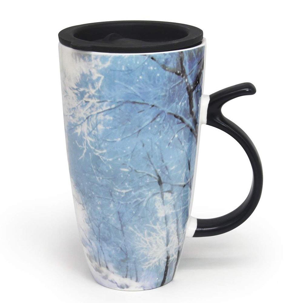Large Ceramic Coffee Milk Mug with Lid, 20 Ounce Travel Mug for Coffee, Tea, Cocoa
