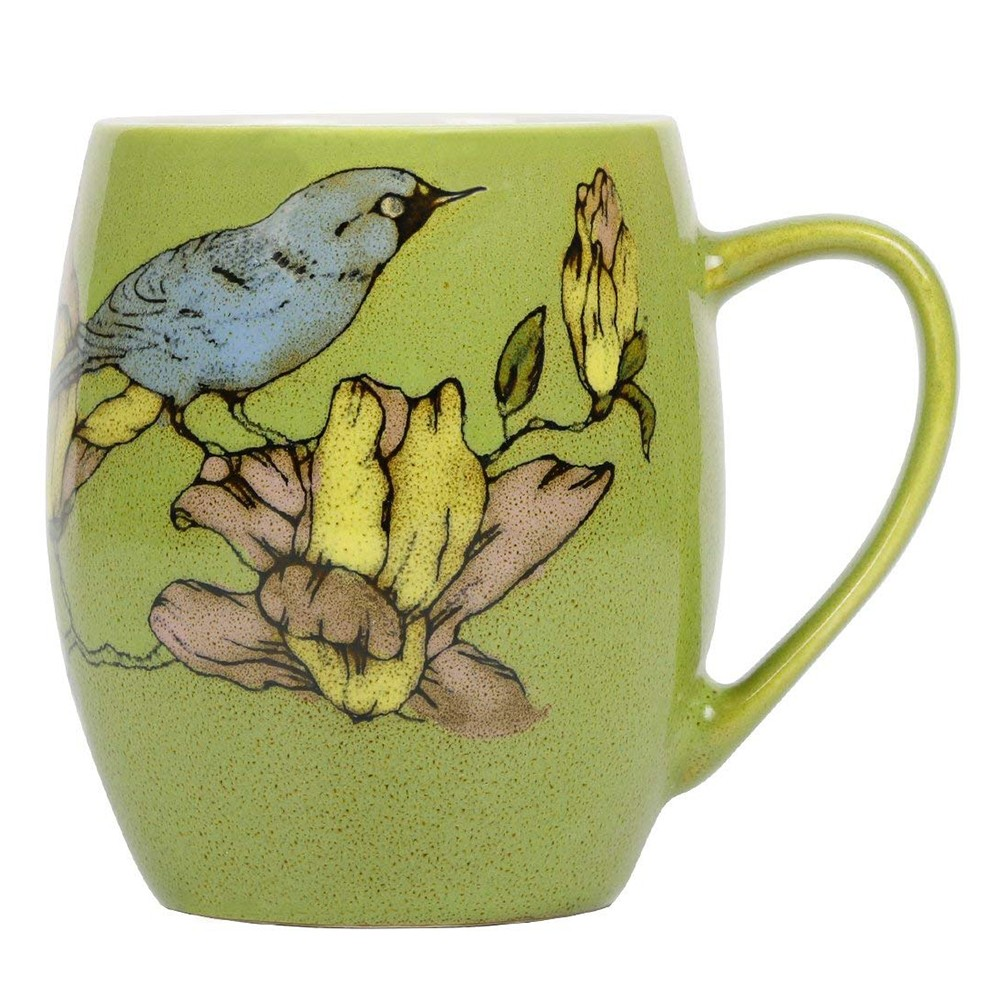 Porcelain Coffee Mug with Flower and Tree Bird Printing,12 Ounce Ceramic Coffee Mug for Coffee/Tea/Cocoa