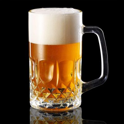 Large Glass Beer Mugs 20 Ounces, Set of 2 Beer Stein Wedding Party Beer Glasses