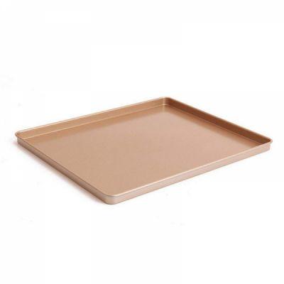 Nonstick Carbon Steel Baking Sheet 12 inch,Square Cake Pan Cookie Sheet, Gold