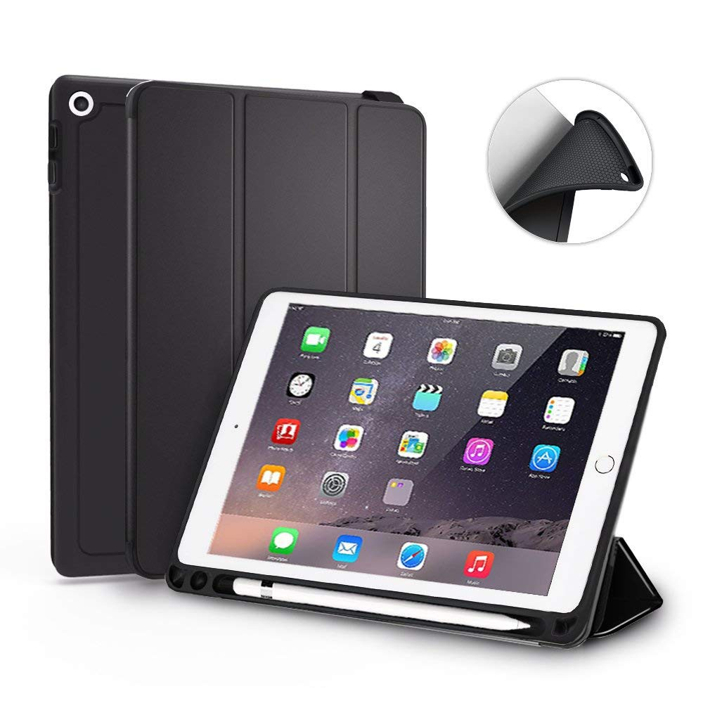 Ultra Slim New iPad 9.7 Inch 2018 Case, Trifold Stand Folio Smart Cover Case with Auto Sleep/Wake Function and Pencil Holder for Apple iPad 9.7 inch