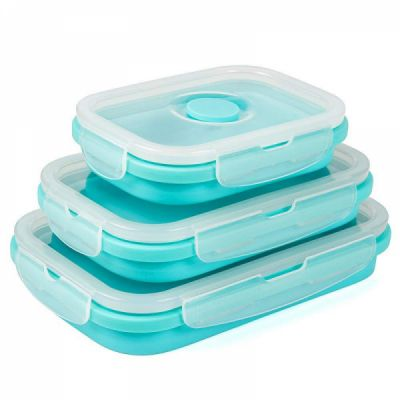 Collapsible Food Storage Containers, BPA-Free and Microwave Safe Silicone Bento Lunch Boxes, Pack of 3