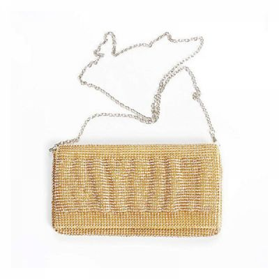 Exquisite Wedding Party Clutch Purse, Sparkling Crystal Ladies Evening Bag Rhinestone Handbag - Gold
