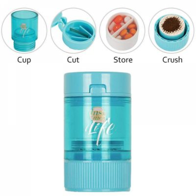 All in One Pill Crusher, Grinder, Splitter for Tablets, Small Pill Cutter Medication Grinder with Powder Storage Cup