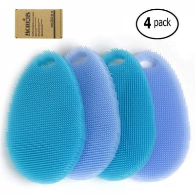 Multipurpose Household Cleaning Silicone Sponge, Antibacterial Silicone Cleaning Pad Kitchen Scrub Brush (Pack of 4)