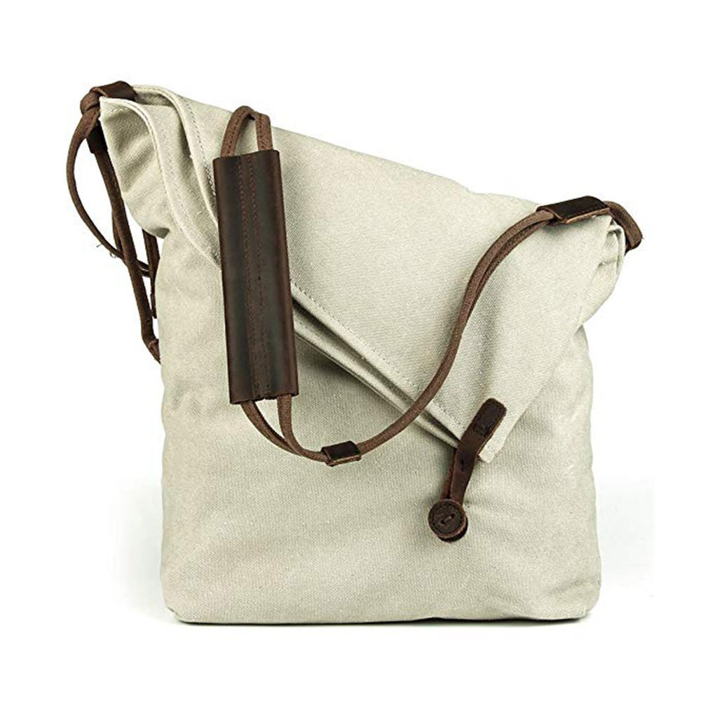 Oversized Casual Canvas Crossbody Messenger Bag, Unisex Retro Hobo Bag for Men and Women