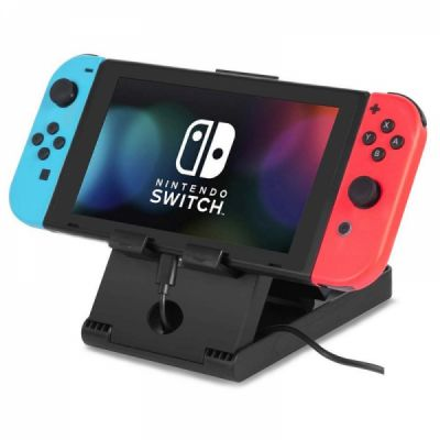 Compact Charging Playstand for Nintendo Switch, Portable Nintendo Switch Stand Holder with Adjustable Multi-angle,Black