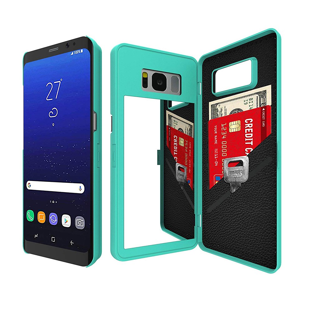 Galaxy S8 Plus Flip Case Cover, Hidden Back Mirror Wallet Case with Stand Feature and Card Holder for Samsung Galaxy S8 Plus