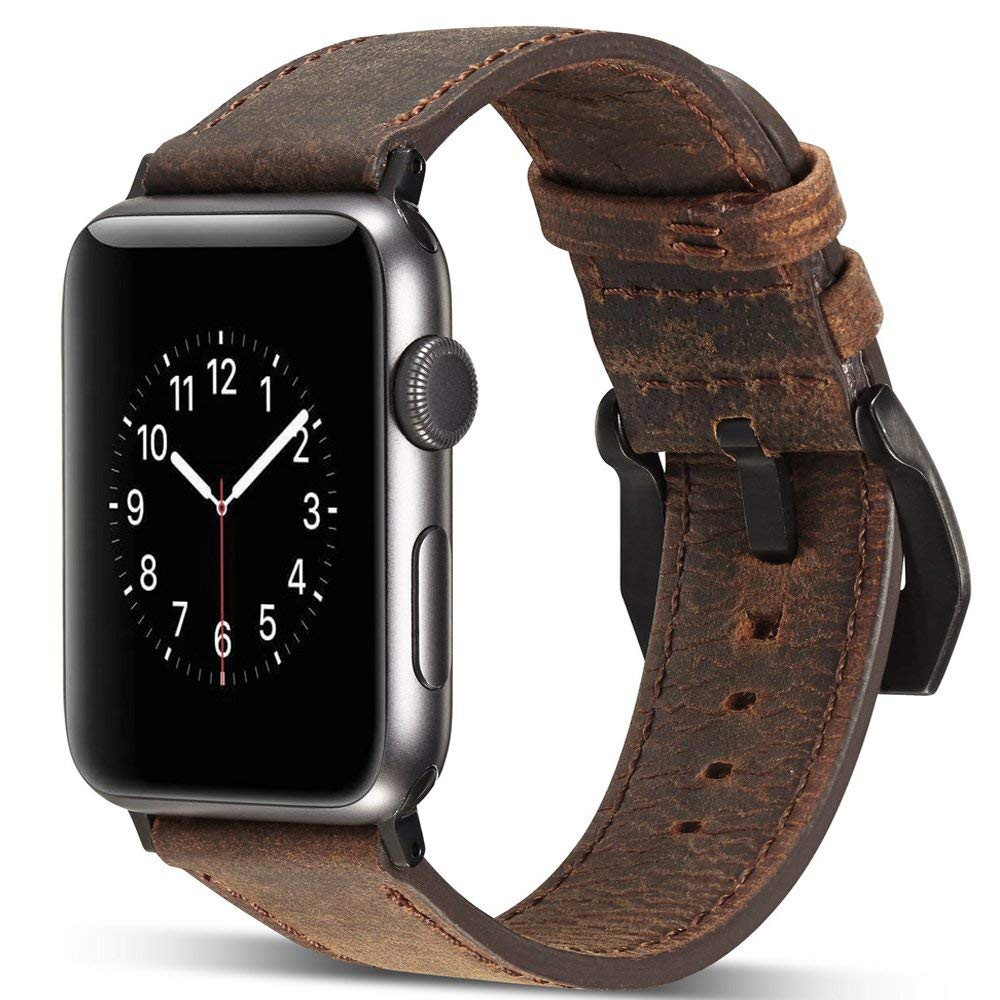 Genuine Leather Apple Watch Band 42mm, Replacement Watchbands with Metal Black Clasp for Apple Watch Series 3/2/1
