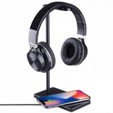 Fast Wireless Charger Stand, Desktop Accessories 2-in-1 Wireless Charging Pad with Headphone Hanger