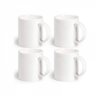 Classic Coffee Mugs, 12 oz Perfect Ceramic Tea Mug, White, Set of 4