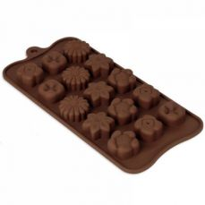 Non Stick Chocolate Candy Molds, Set of 4 BPA Free Silicone Decorating Jelly Molds - Flower Shapes