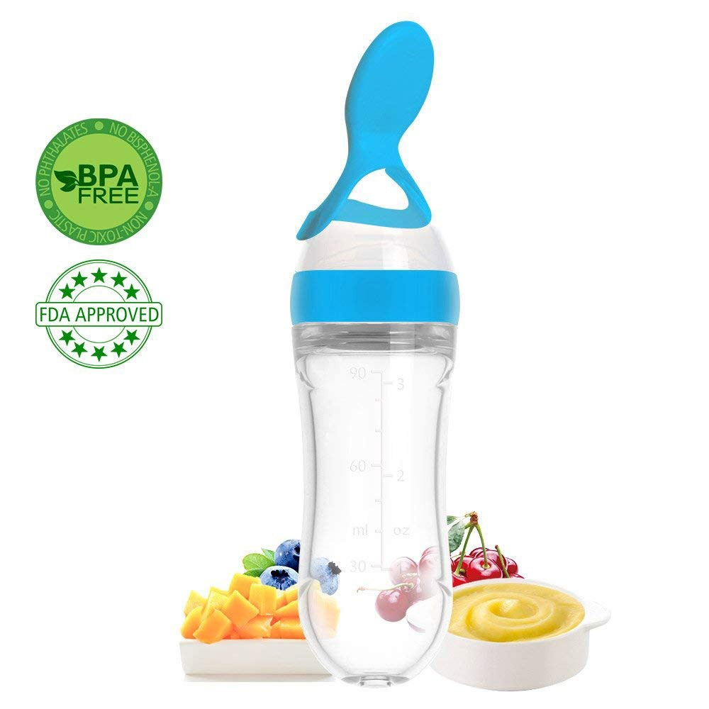 BPA Free Baby Food Dispensing Feeding Spoon with AirFree vent, Silicone Baby Food Squeeze Bottle with Spoon- 90ml