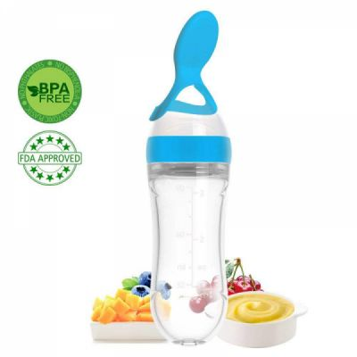 Silicone Baby Food Squeeze Bottle with Spoon, BPA Free Baby Food Dispensing Feeding Spoon with AirFree vent - 90ml