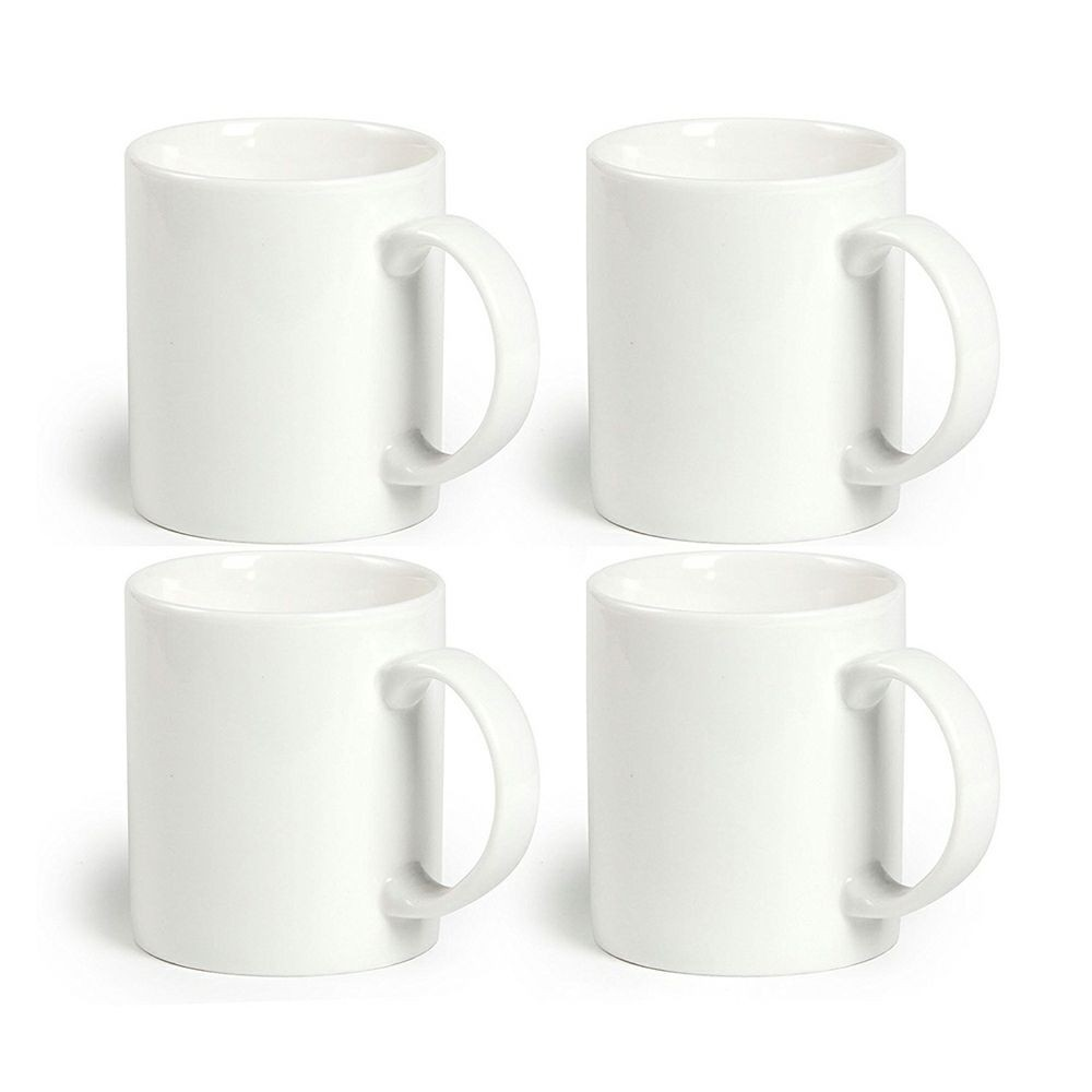 12 Oz Ceramic Coffee Mug White, 100% Lead-Free Safe Porcelain Mugs For Milk Tea, Set Of 4