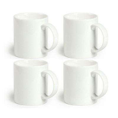 12 Oz Ceramic Coffee Mug White, 100% Lead-Free Safe Porcelain Mugs For Milk Tea, Set Of 4