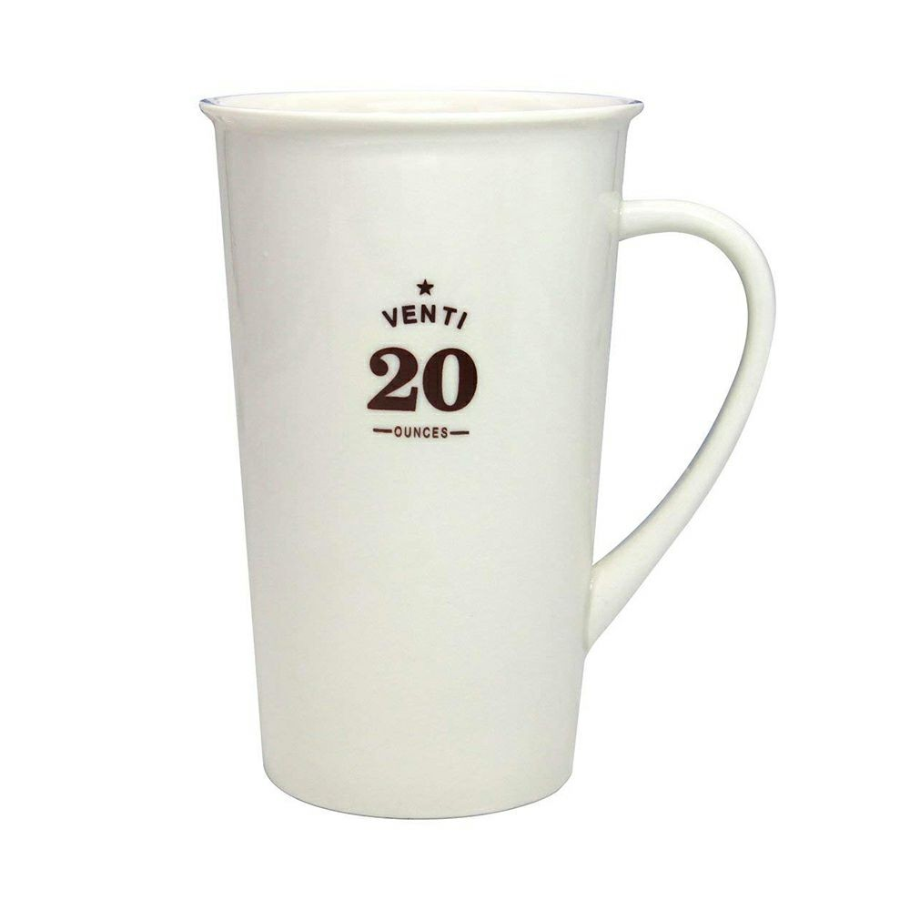 Premium 20 oz Porcelain Cup Microwave and Dishwasher Safe, Classic Style Large White Ceramic Coffee Mug