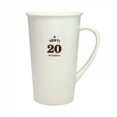 Premium 20 oz Porcelain Cup, Microwave and Dishwasher Safe, Classic Large White Ceramic Coffee Mug