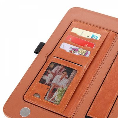 2018 Brand New Leather Smart Stand Folio Business Wallet Case Cover with Card Slots, Kickstand, Document Pocket, Pencil Holder, Elastic Hand Strap for iPad 1/2/3/4 iPad Mini iPad Air 1/2