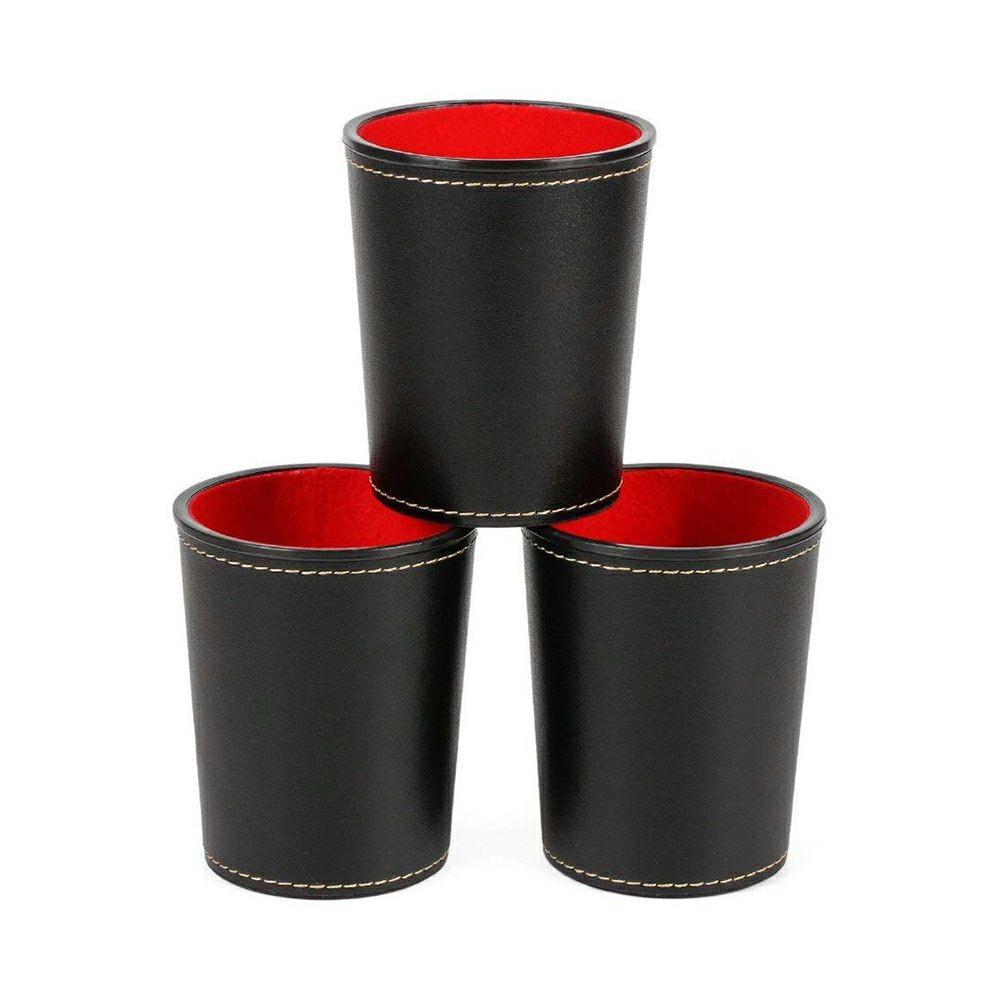 Set of 3 Dice Cup, PU Leather Noiseless Cups with Felt Lining, Anti-impact Durable Dice Storage for Party Bar KTV and Casino