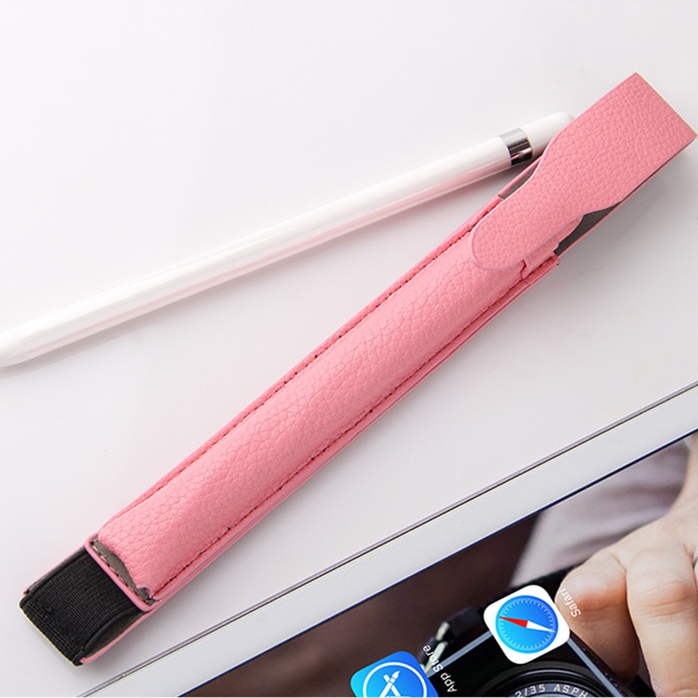 Portable Protective Premium PU Leather Apple Pencil Case Cover with Elastic Strap Compatible with iPad Pro 9.7 inch & iPad Pro 10.5 inch