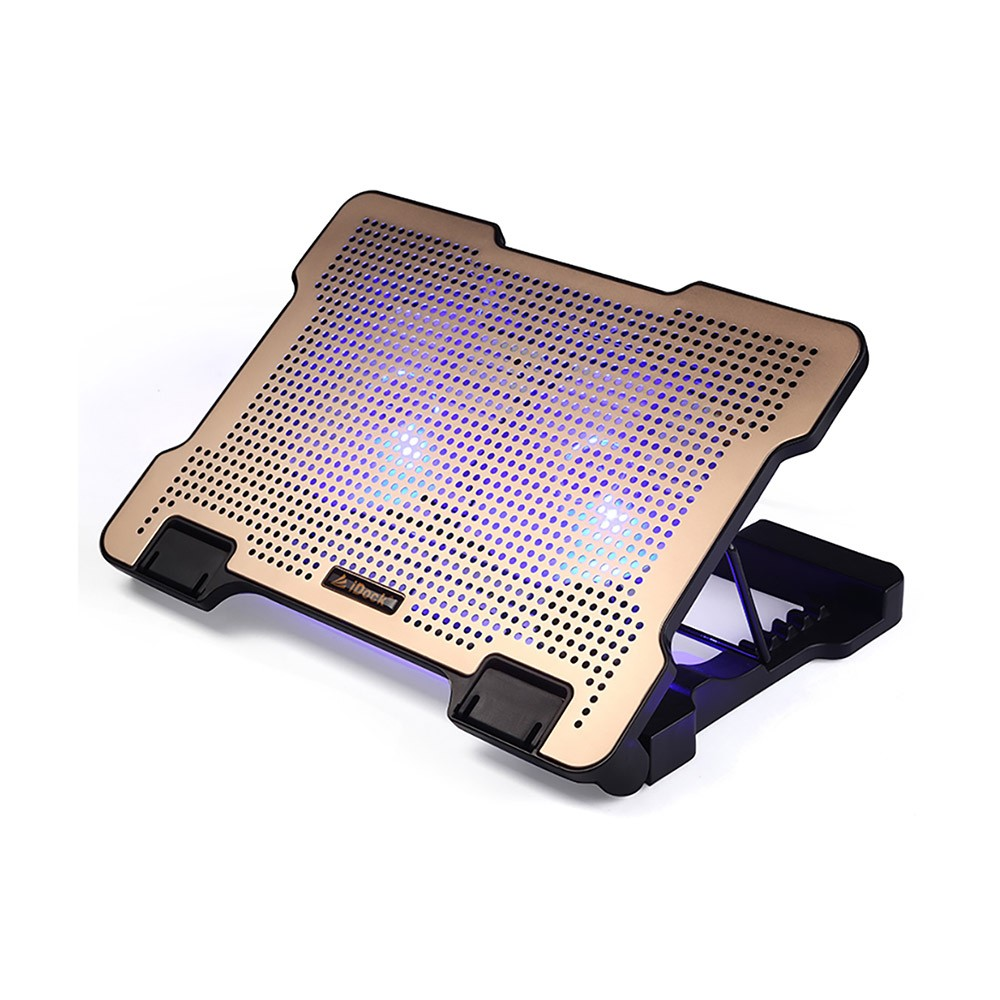 Universal Stand View Adjustable Angle Laptop Noiseproof LED Fans Cooler Pad, Portable Heat Emission Notebook Cooler Temperature Sensor for 12-17 inch Laptop Accessories